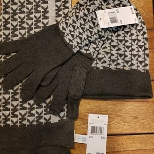 Michael Kors scarf, gloves and hat set